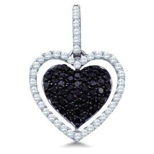 and White Diamond Round Cut Heart Shape Love Puff Pendant (4/5 cttw