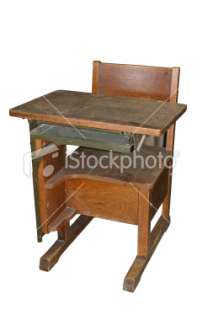 Antique school desk Royalty Free Stock Photo