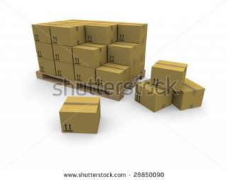 Piles Of Cardboard Boxes On A Pallet Stock Photo 28850090