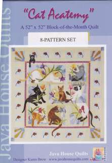 Java House Quilts Cat Acatemy Acatamy BOM Quilt Pattern 8 block set