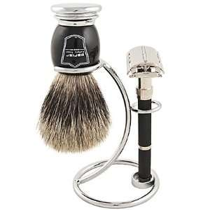 Parker 96R Safety Razor Shave Set   Includes Pure Badger Brush, Stand