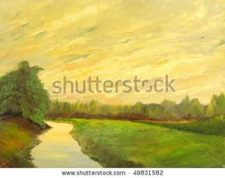 stock photo  A beautiful original landscape painting oil on canvas
