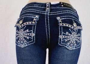 Size LA Idol Bootcut Jeans Crystal Cross Bold Stitch Stretch,17,19,21