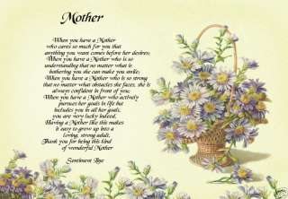Personalised Mother Mum Mom Poem Gift Print New