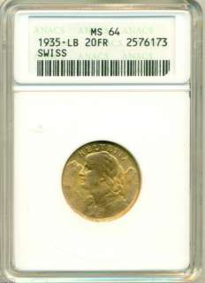 1935  LB 20 Swiss Francs HELVETIA Gold Coin MS64