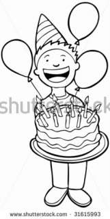 Birthday Party Kid Line Art Child Holding A Cake. Stock Vector
