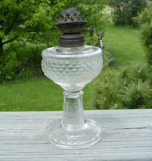VINTAGE ANTIQUE EAPG OLD 1800 GLASS MINIATURE OIL LAMP