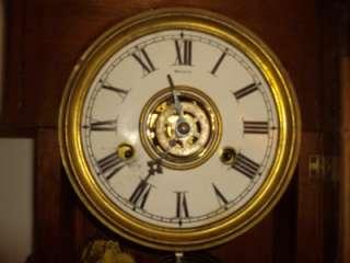 GILBERT CLOCK CO., ANTIQUE PUCK MANTLE CLOCK, CA. 1888