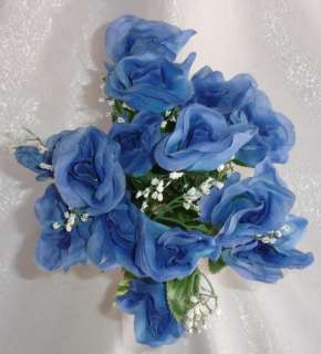 84 Long Stem Roses ~ DARK BLUE ~ Silk Wedding Flowers Centerpieces DIY