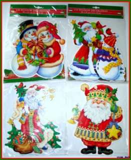 Christmas Die Cut Window Cling Decoration W/ Suction Cup Lot Of 8 NEW