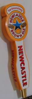 NEWCASTLE BROWN ALE WOOD DOUBLE SIDED BEER TAP HANDLE