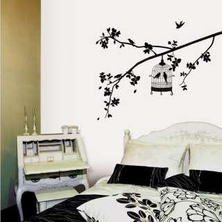 Bird Cage Flower Tree Wall Stickers Vinyl Decals Decor