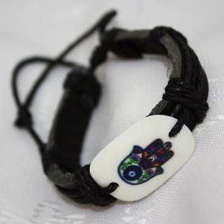 Handmade Black Leather Wristband Bracelet with Hamsa Evil Eye Amulet