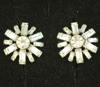 JAY FLEX STERLING SILVER VINTAGE CRYSTAL RHINESTONE EARRINGS