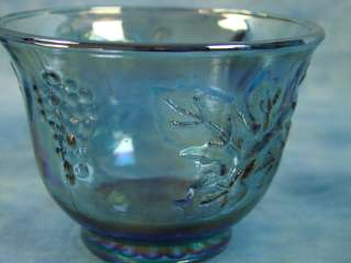 Indiana Carnival Glass Blue Iridescent Princess Grape PUNCH BOWL SET