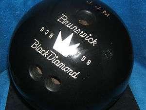 60S RARE BRUNSWICK JET BLACK DIAMOND WHITE CROWN 13 POUND BOWLING BALL