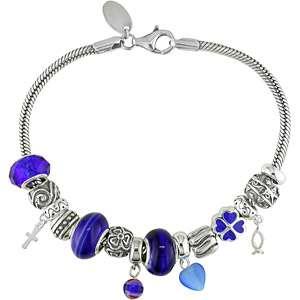 Charm Sterling Silver Bracelet, Blue Glass Heart Charm Bracelet