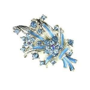 Blue Austrian Rhinestone Silver Tone Flower Brooch Pin Jewelry