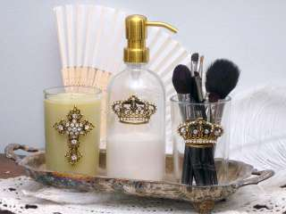 Shabby French Chic Gold Crown Crystal Vanity Jar Glass