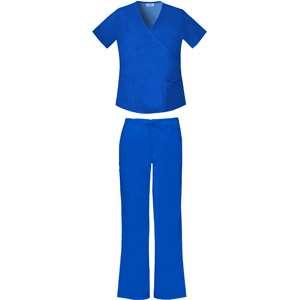 Electric Blue Mock Wrap Top and Scrub Pant Value Bundle