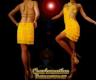 YELLOW CHa Cha FRINGE Crystal salsa latin dance dress