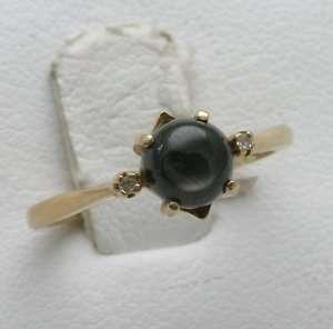 Estate 14k yellow gold Black Star Sapphire Diamond Ring