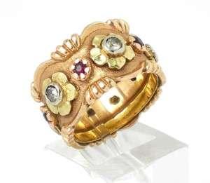 RETRO 14K 2 TONE GOLD DIAMONDS & RUBIES FLOWER RING