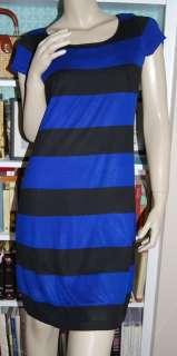 Royal Blue Black Rugby Striped Knit Dress Silk Cotton I.N.C. M