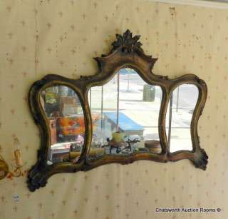 Hand Decorated 1930s Venetian Triptych Wall Mirror