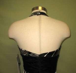 Maggie London Black & White Satin Cocktail Halter Dress 8 NWT
