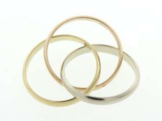 Solid 18K White, Yellow & Rose Gold Trinity Women Ring NR