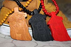 good maple wood black Jesus rap Piece Necklace NYC Hip pop kanye jay z