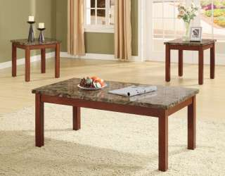 Pcs Coffee and End Table set wooden Faux Marble Top
