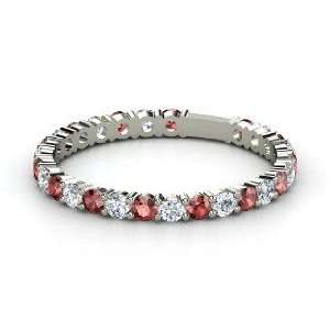 Rich & Thin Band, 14K White Gold Ring with Red Garnet & Diamond