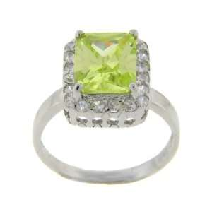 Sterling Silver Big Square Green Stone Solitaire Ring Size #7 Jewelry