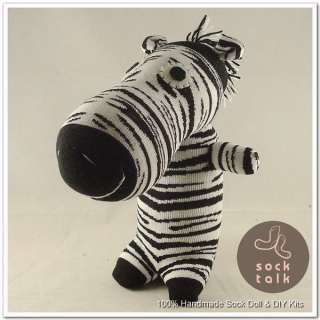 Handmade Punk Sock Monkey Zebra Stuffed Animals Doll Baby Toy