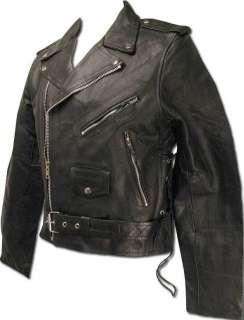 Mens Genuine Black Leather Motorcycle Street Jacket in size LARGE 700