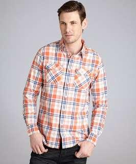 Just A Cheap Shirt orange blue green plaid cotton button front shirt