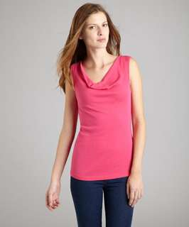 Three Dots rosy pink stretch cotton cowl neck sleeveless top