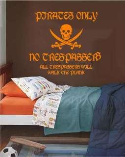 Skull & Cross Bones Pirate Vinyl Wall Art decor Mural