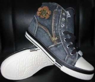 Mens Black high top denim sneaker shoe SZ 7.5 12 US NIB