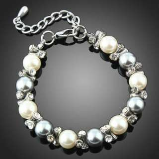 Girls Silver Ivory Pearl Beaded Bracelet Jewelry Swarovski Clear X