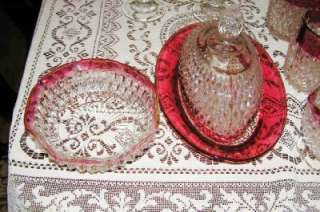 LOT 24 Pcs. Indiana Glass Diamond Point Ruby Flash Glasses, Decanters
