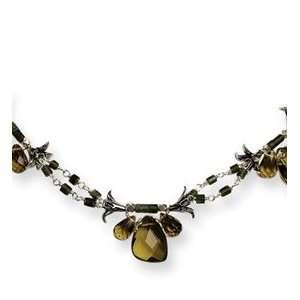 Sterling Silver Dark Green Jade & Olivine Crystal Necklace Jewelry