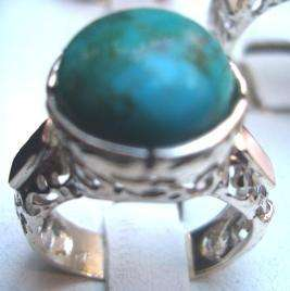 Artistic Israeli turquoise ring jewelry silver gold